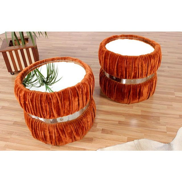 Vintage Fuzzy Orange Mirrored End Tables - Pair - Image 3 of 6