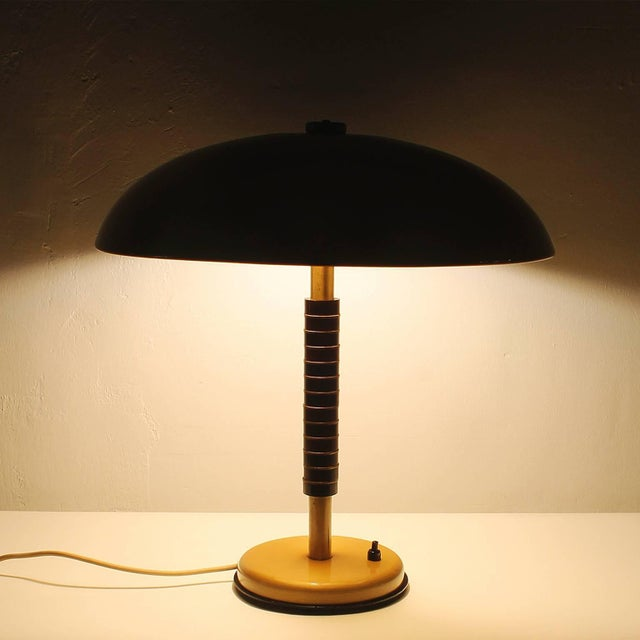 1960s 1960´s Desk Lamp, wood pieces, polished brass rings - Spain For Sale - Image 5 of 10