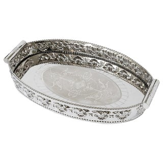 Vintage Anglo Indian Nickel-Plated Tray For Sale