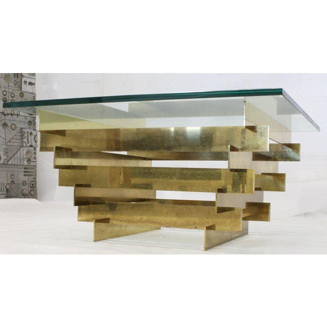 1970s Mid-Century Modern Bronze Base Glass Top Square Coffee Table For Sale - Image 6 of 12