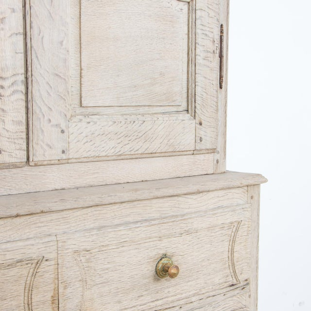 French Provincial Bleached Oak Buffet a Deux Corps For Sale - Image 9 of 13