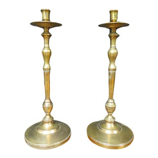Vintage 1940s Brass Candle Holders - a Pair For Sale