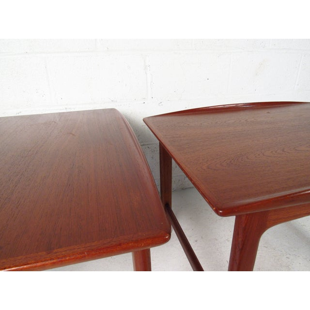 DUX Pair of Vintage Modern Sculpted Teak End Tables For Sale - Image 4 of 11