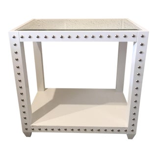 Worlds Away White Laquered Side Table For Sale