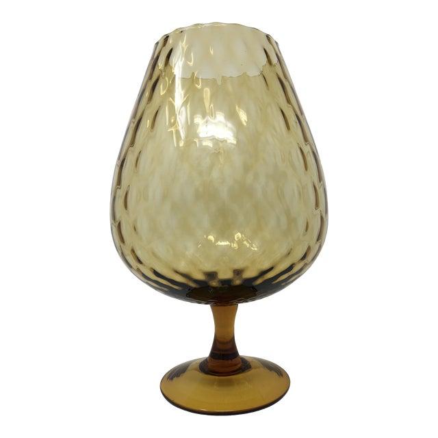 Midcentury Modern Empoli Style Amber Optic Glass Vase For Sale