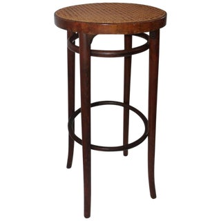 Bentwood Bar Stool With Cane Seat For Sale