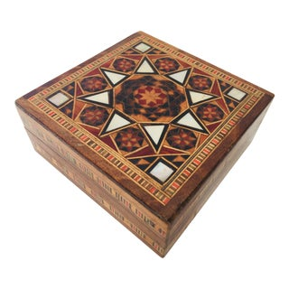Middle Eastern Inlaid Marquetry Mosaic Box For Sale