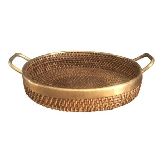 Woven Tray With Brass Trim and Handles