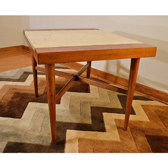 Mid Century Danish Style Italian Marble End Table - Image 4 of 7