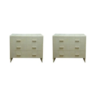 Attractive Pair of White Shagreen Four-Drawer Commodes For Sale
