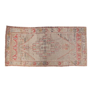 "Vintage Distressed Oushak Rug Runner - 3'10"" x 7'10"""