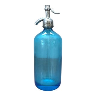 Early 20th Century Blue Glass Seltzer Bottle - Brooklyn For Sale