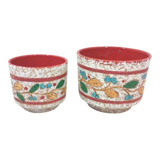 Italian Incised Red Multi-Color Terracotta Planters-A Pair For Sale