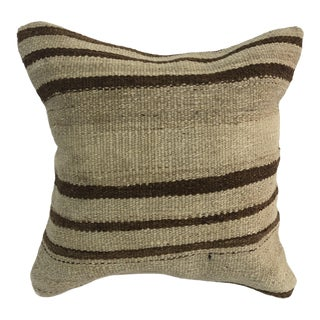 Turkish Beige and Brown Decorative Anatolian Accent Kilim Pillow Cover For Sale