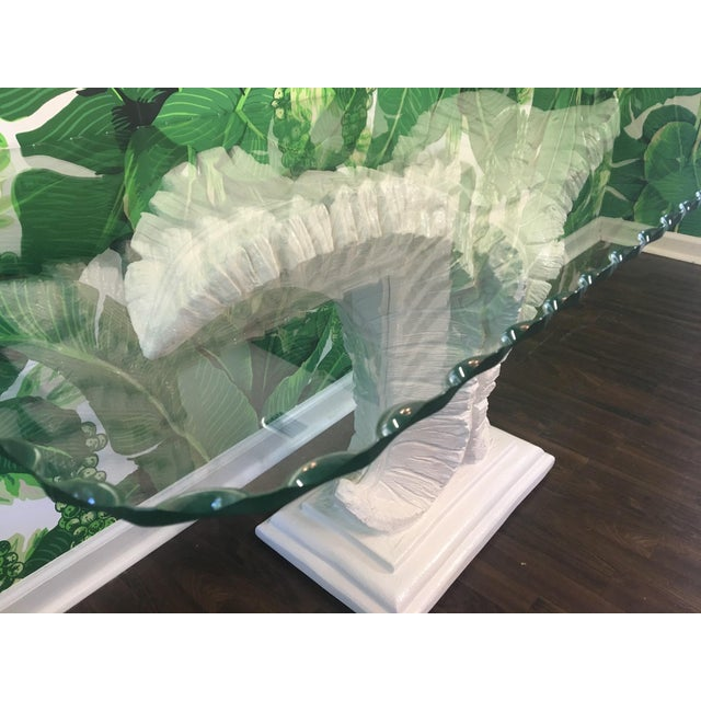 Sculptural Palm Leaf Console Table and Mirror After Serge Roche & Dorothy Draper For Sale - Image 6 of 9