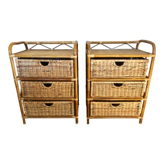 Vintage Rattan Wicker Chest of Drawers- a Pair For Sale