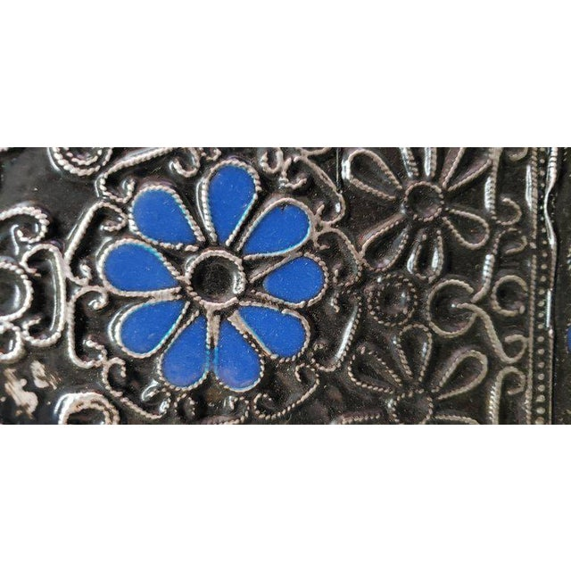 Moroccan Ultra Arched Metal Inlaid Mirror, Rabat, Dark Blue Motif For Sale - Image 4 of 7