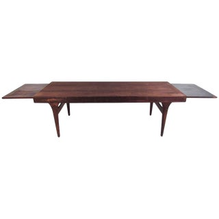 Mid-Century Draw Leaf Rosewood Coffee Table by Johannes Andersen For Sale