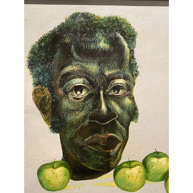 "American Original Self-Portrait by Artist Roman E. Johnson, ""Self-Portrait With Green Apples"" (1984) For Sale - Image 3 of 10"