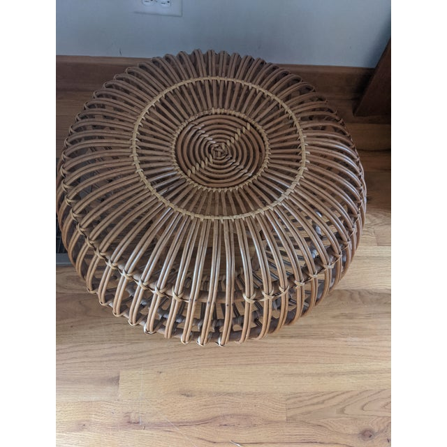 Franco Albini Mid Century Modern Franco Albini Rattan and Wicker Chair and Ottoman For Sale - Image 4 of 7