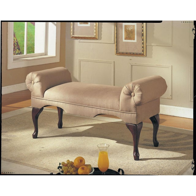 Aston Microfiber Rolled Arm Bench, Beige Finish - Image 5 of 7