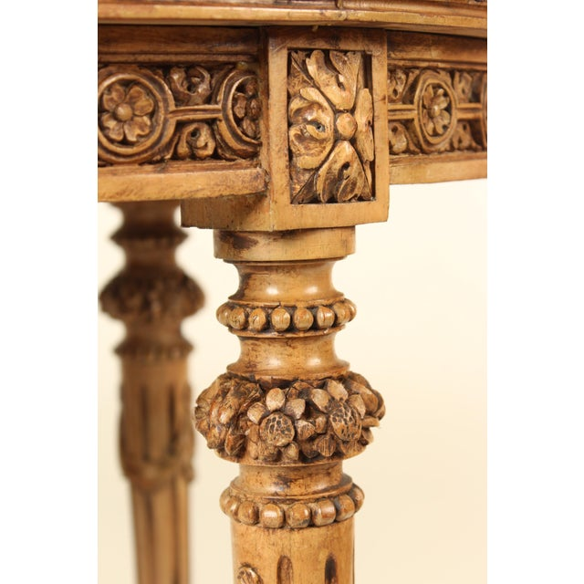 Red 1930s Louis XVI Carved Marble Top Table For Sale - Image 8 of 13