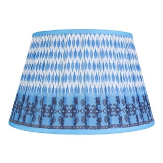 "Pleated Printed Shade with Border 14"" Turquoise and Navy For Sale"