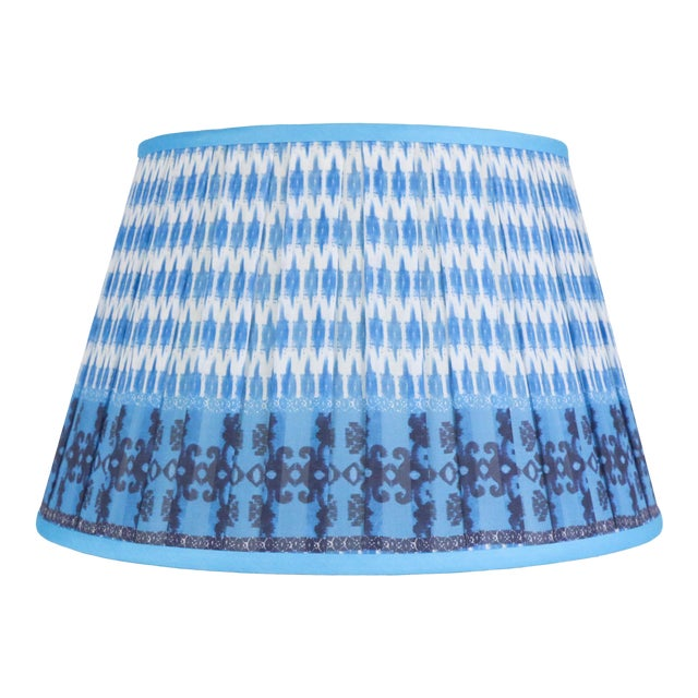 """Pleated Printed Shade with Border 14"""" Turquoise and Navy For Sale"""