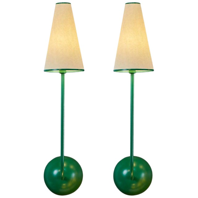 Single-Arm Green Wall Lamp in the Style of Jean Royère For Sale