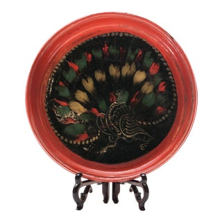 Mid 18th Century Burmese Hand-Painted Peacock Lacquered Plate For Sale