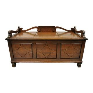 Antique Jacobean Depression Walnut Cedar Chest Blanket Chest Bench Storage Trunk For Sale