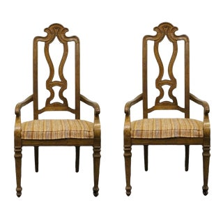 Late 20th Century Drexel Heritage Talavera Collection Spanish Revival Splat Back Arm Chairs- A Pair For Sale