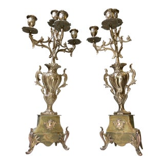Antique Late 19th Century French Art Nouveau Candelabras in Green Onyx - a Pair For Sale