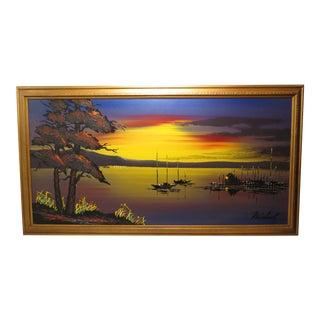 Mid Century Vanguard Studios Seascape Sunset Skyline Oil Painting For Sale