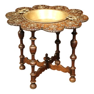 Early 19th Century Spanish Carved Walnut Brasero with Removable Brass Tray Top For Sale