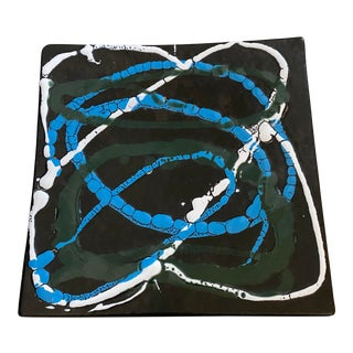 Modern Abstract Hand Painted Decorative Plate For Sale
