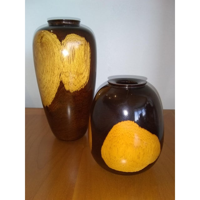 Black/Tan Turned Wood Vases - a Pair For Sale - Image 4 of 4