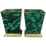 Image of Malachite Planters With Doré Bronze Mounts - a Pair For Sale
