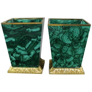 Malachite Planters With Doré Bronze Mounts - a Pair