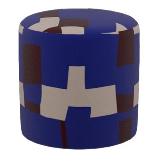 Drum Ottoman in Blue Quilt For Sale