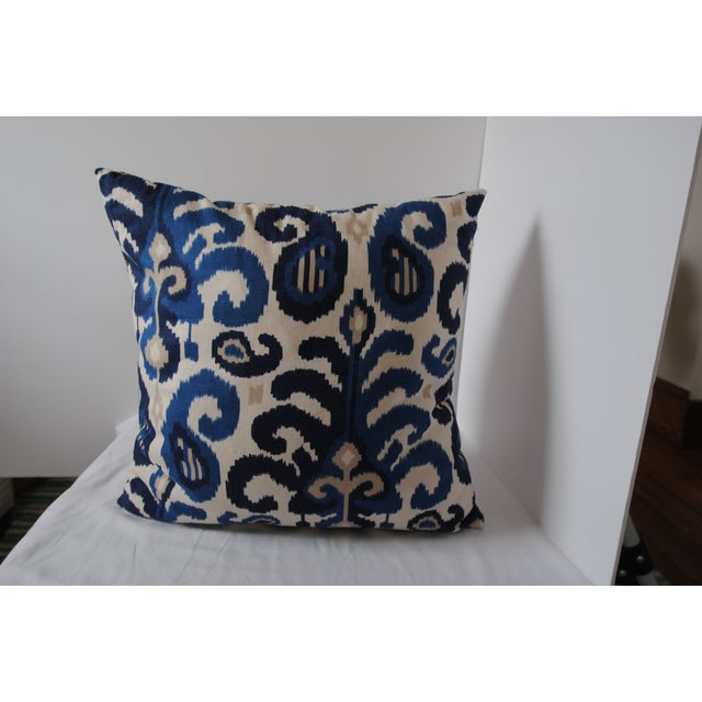 Custom Blue Ikat Pillows - A Pair - Image 2 of 7