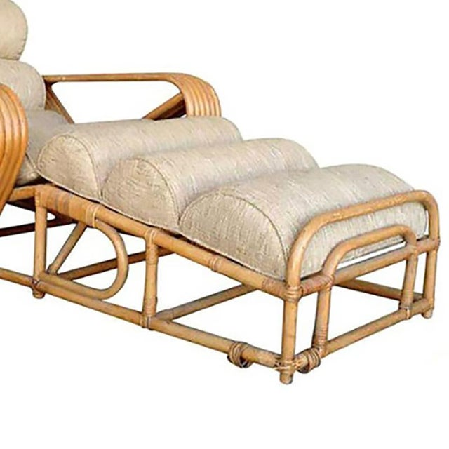 Art Deco Rare Restored Pair of Paul Frankl Rattan Chaise Lounge Chairs w/ Pretzel Arms For Sale - Image 3 of 5