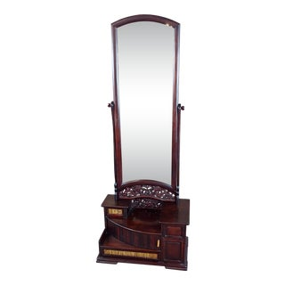 1920s Japanese Rosewood Kyodai Vanity Mirror For Sale