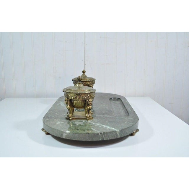 Antique French Empire Style Figural Bronze Green Marble Double Inkwell Neoclassic - Image 10 of 11