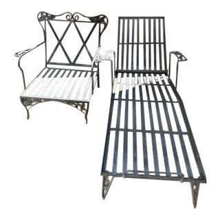 Mid-Century Wrought Iron Lounger & Chair - A Pair For Sale