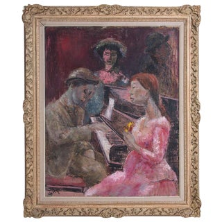 "1950s Original Oil Painting on Board ""Piano Player"" by Yetty For Sale"