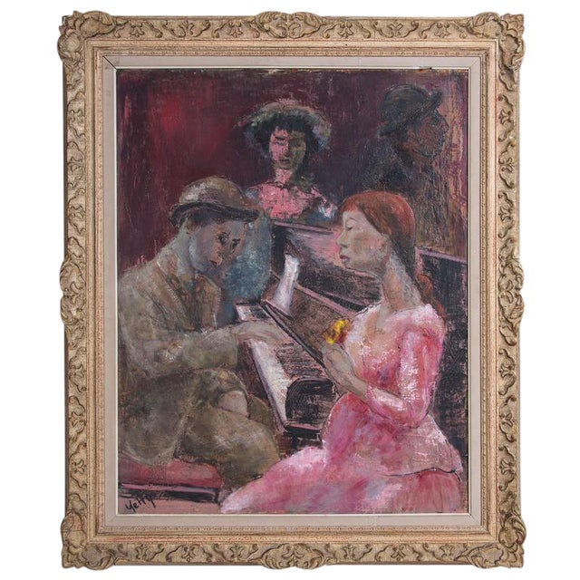 "Original Oil Painting on Board by Yetty Titled ""Piano Player"" - Image 1 of 4"