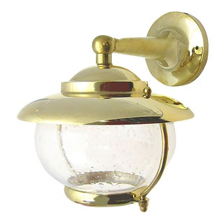 Solid Brass Wall Sconce With Decorative Seeded Glass For Sale