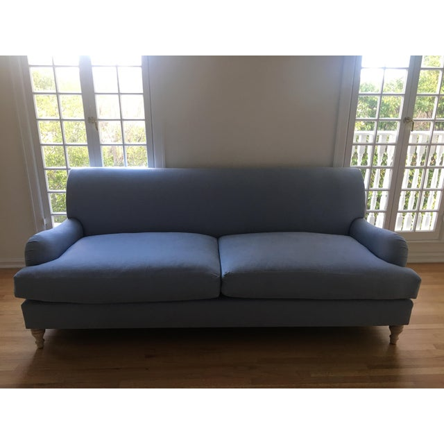 Fabric Modern Traditional English Roll Arm Sofa in Blue For Sale - Image 7 of 7