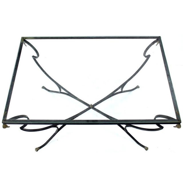 Early 20th Century Figural Wrought Iron Brass Bird Tips Glass Top Outdoors Dining Table For Sale - Image 5 of 5
